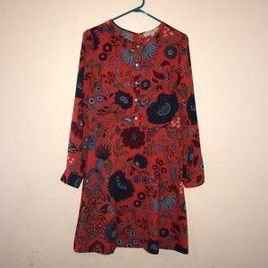 Ann Taylor Loft floral long sleeve dress 10